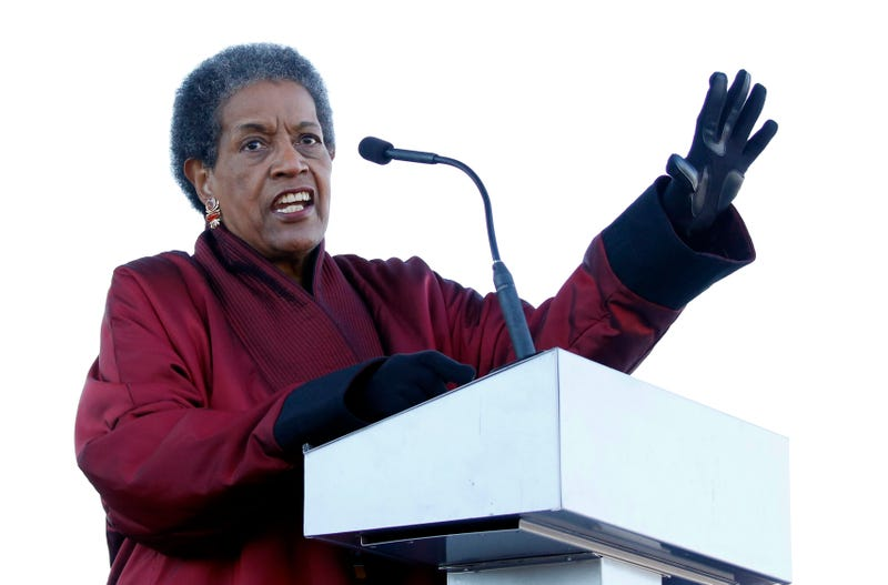 Civil rights activist Myrlie Evers-Williams, the widow of civil rights leader Medgar Evers, speaks at the grand opening ceremony for two museums—the Museum of Mississippi History and the Mississippi Civil Rights Museum—Dec. 9, 2017, in Jackson, Miss.  (Rogelio V. Solis/AP Images)