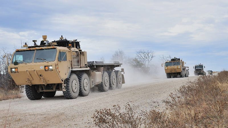 Illustration for article titled The military has developed a robotic convoy that doesn't need humans