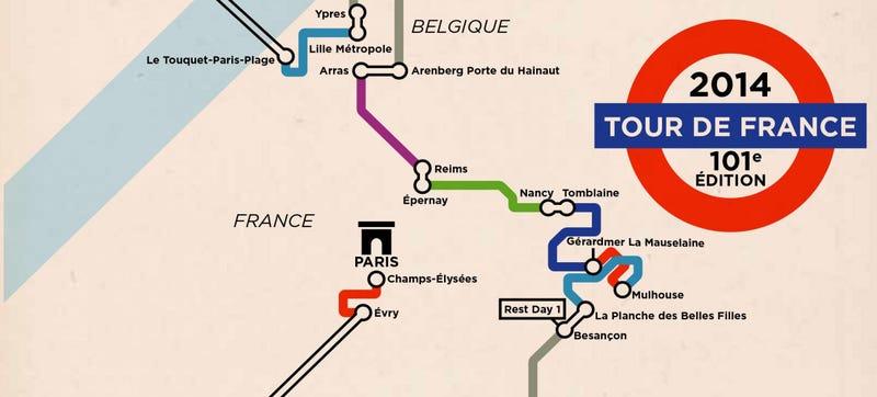 Illustration for article titled What the Tour de France Looks Like as a Subway Map