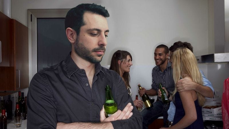 Illustration for article titled Report: Only 20 Minutes Until Introverted Man Gets To Leave Party
