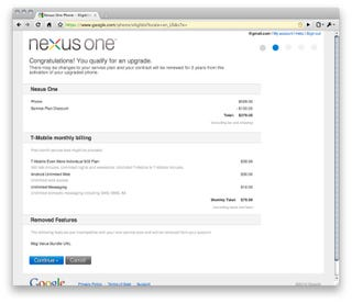 Illustration for article titled How Existing T-Mobile Customers Can Score The $180 Nexus One Discount