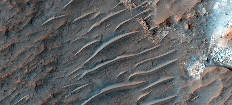 Illustration for article titled Nobody Knows How These Strange Ridges Appeared on Mars