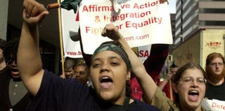 University of Cincinnati students rally for affirmative action. (Mike Simmons/Getty Images)