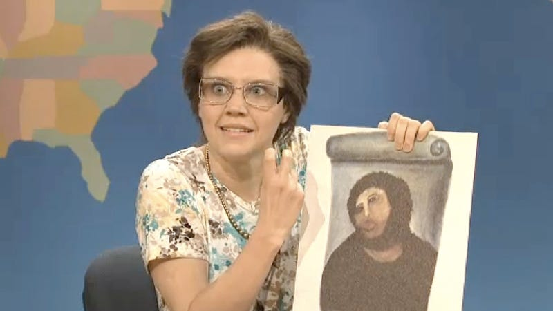 Illustration for article titled Cecilia Gimenez Visits the Weekend Update and Demonstrates How Best to Ruin a Fresco
