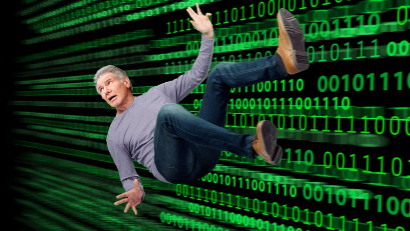 Illustration for article titled Lucky To Be Alive: Harrison Ford Got His Sleeve Caught In His Computer's Floppy Disk Drive And Was Sucked Into Cyberspace