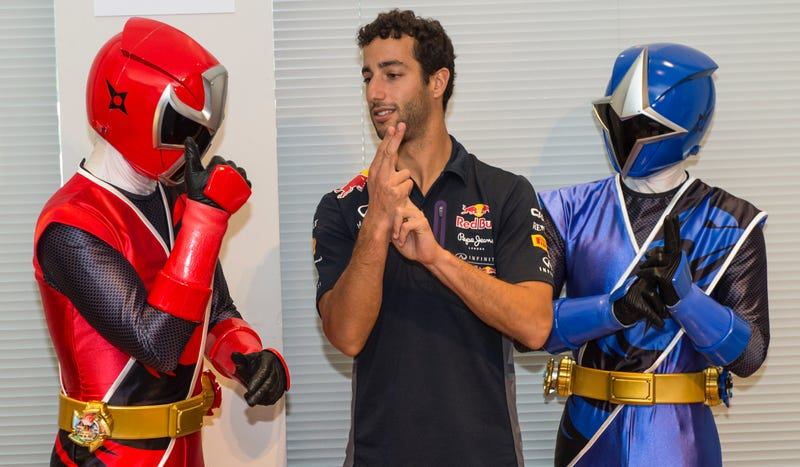 Illustration for article titled Caption This: What Is Ricciardo Learning From These Modern-Day Power Rangers?