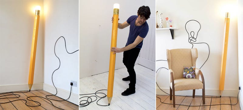 Illustration for article titled This Pencil Lamp's Power Cord Leaves Doodles Around Your Home