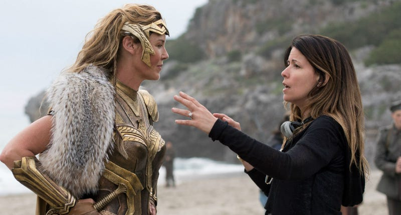 Patty Jenkins (right) directs Connie Nielsen on the set of Wonder Woman. Image: Warner Bros.