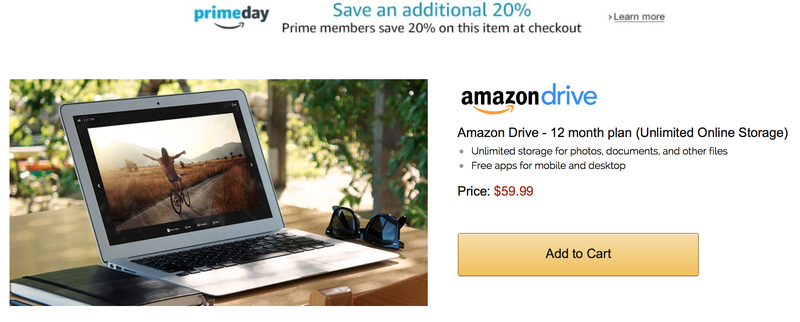 12 Months Unlimited Amazon Cloud Drive, $48 for Prime members