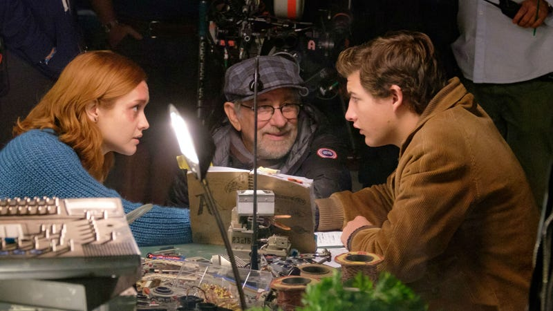 Steven Spielberg on the set of Ready Player One.