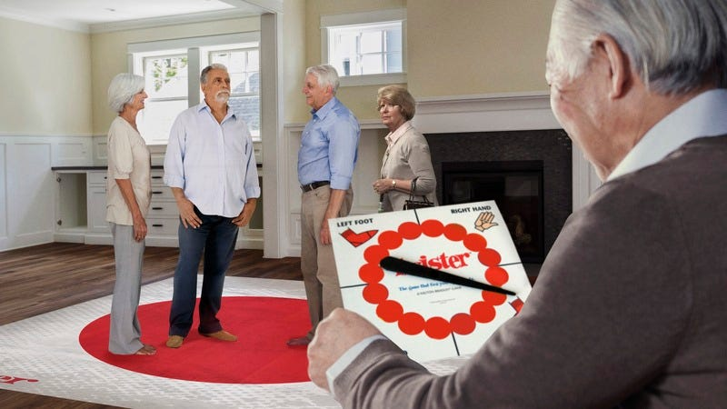 Elderly people playing Twister.