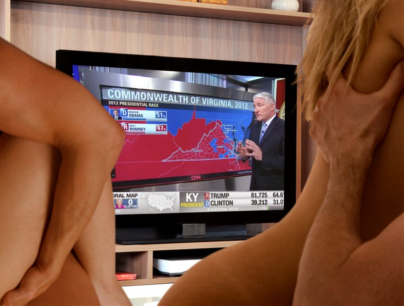 Illustration for article titled Election Night Orgy Shifts Positions So Everyone Can See Results Come In