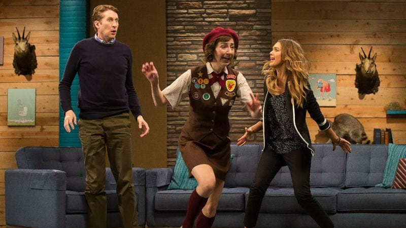 """Illustration for article titled Comedy Bang! Bang!: """"Jessica Alba Wears A Jacket With Patent Leather Pumps"""""""