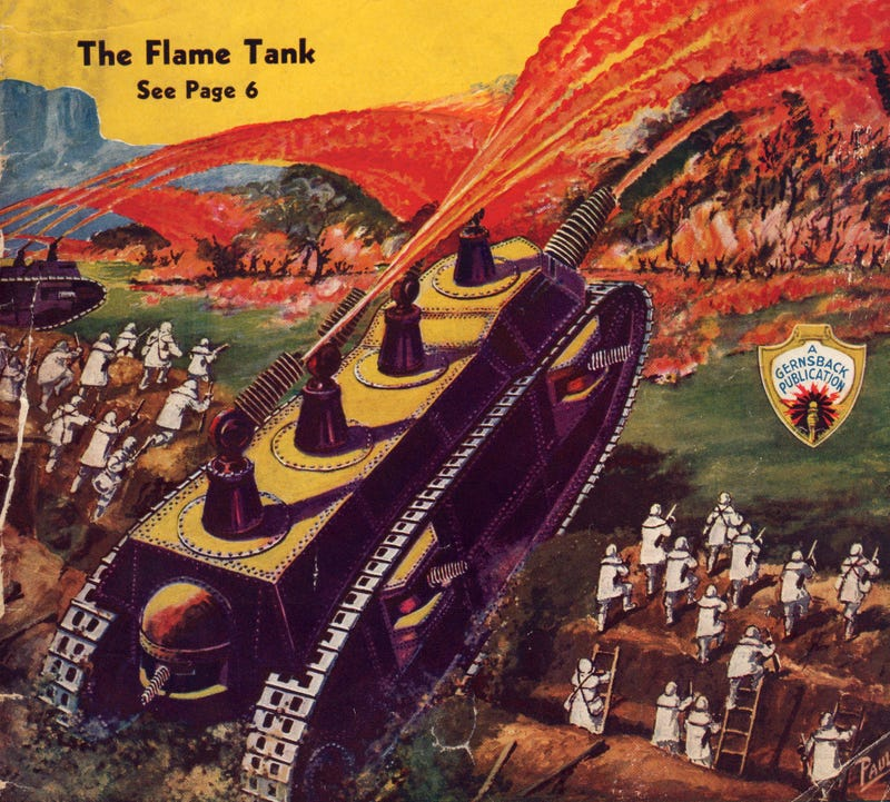 Illustration for article titled The Horrifying Flame Tank of the 1930s Meant to End All Wars