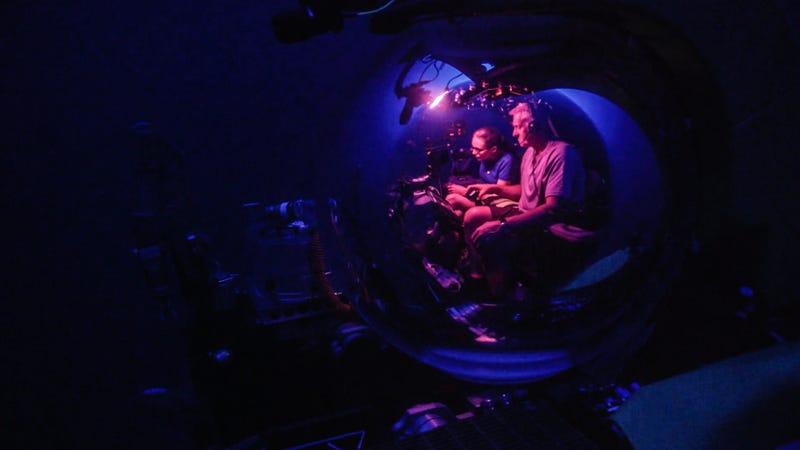 "Dr. Samantha ""Mandy"" Joye (left) in a deep sea submarine."