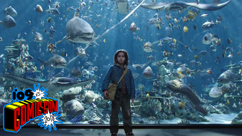 Lil' Arthur Curry is us, the marine life is Comic-Con news, and the fractured tank glass is our fragile grasp on sanity.