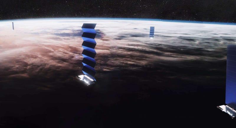 "Illustration for article titled Los astrónomos se enfrentan a Elon Musk: ""va a haber más satélites visibles que estrellas"""