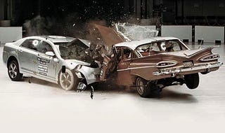 Illustration for article titled '09 Malibu-'59 Bel Air Crash Test, Before And After