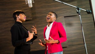 Jennifer Hudson, who plays Shug Avery, and Cynthia Erivo, who plays Celie, in the Broadway revival of The Color PurpleMatthew Murphy
