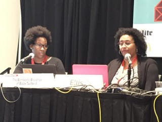 Meredith Clark and Kimberly Ellis speak at a panel on black Twitter at South by Southwest March 13, 2015, in Austin, Texas.Genetta M. Adams/The Root