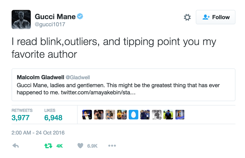Illustration for article titled Rapper Gucci Mane to Malcolm Gladwell: 'You My Favorite Author'