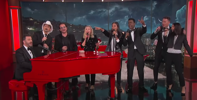 """Jimmy Kimmel and pals unite to fight AIDS, singing the celebrity anthem, """"We're Going To Hell"""""""