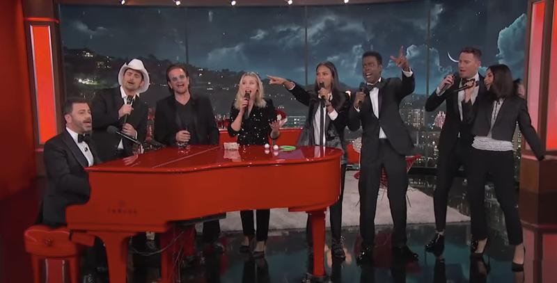 Jimmy Kimmel, Brad Paisley, Bono, Kristen Bell, Zoe Saldana, Chris Rock, Channing Tatum, Mila Kunis
