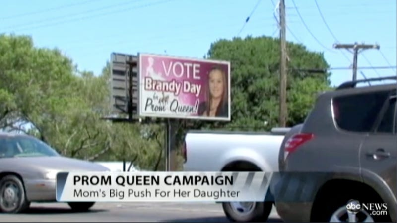 Illustration for article titled Mom With Priorities Out of Whack Buys Pink Rotating Billboard to Land Daughter Prom Queen Crown