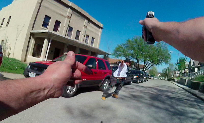 A still from body camera footage showing a police shooting in San Diego. (Image: AP)
