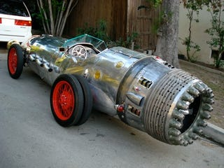 Illustration for article titled Rocket Car Mod is Like Steampunked Chitty Chitty Bang Bang