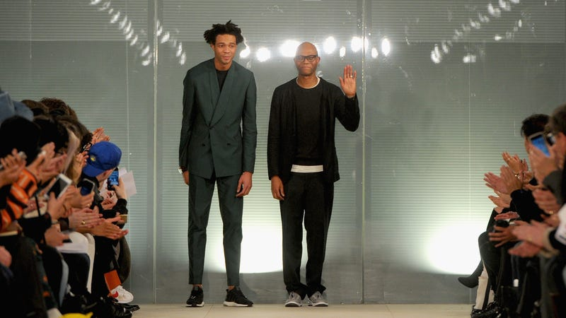 6a333fea1339e Fashion designers Charlie Casely-Hayford and Joe Casely-Hayford are seen on  the runway