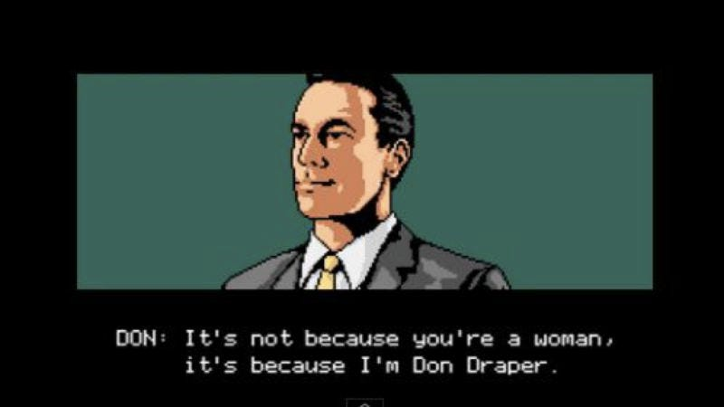 Illustration for article titled Orchestrate Don Draper's fate with an 8-bit Choose Your Own Adventure game