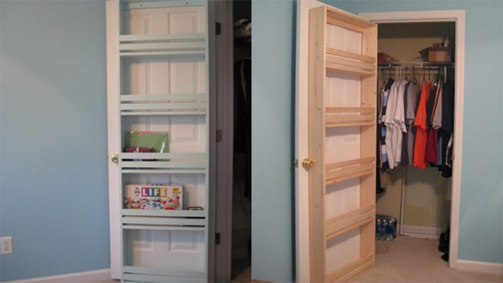 storage closets with doors attach shelves to your closet door to save space 26866
