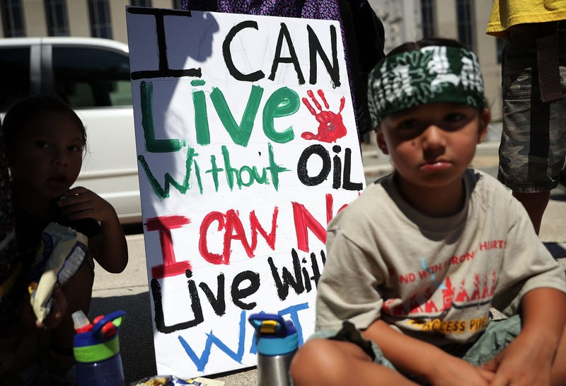 Native American children participate during a Dakota Access Pipeline rally Aug. 24, 2016, outside U.S. District Court in Washington, D.C. Alex Wong/Getty Images
