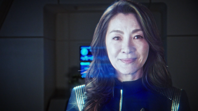 A hologram of the departed Georgiou gifts Burnham some wisdom (and, err, a telescope) in Star Trek: Discovery.