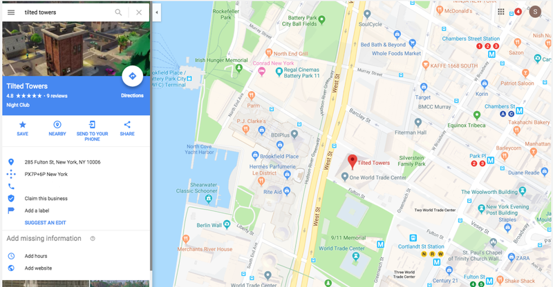 Illustration for article titled Fortnite's Tilted Towers Temporarily Had An Address On Google: The Freedom Tower