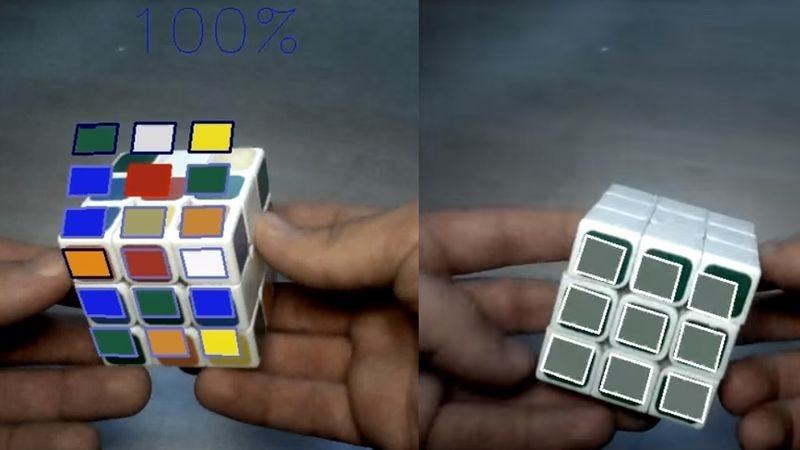 Screenshot: Augmented Reality Rubik's Cube Solving Assistant