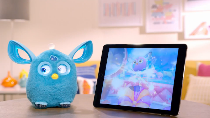 Furby doesn't want to watch Furbys (screenshot from Hasbro video)
