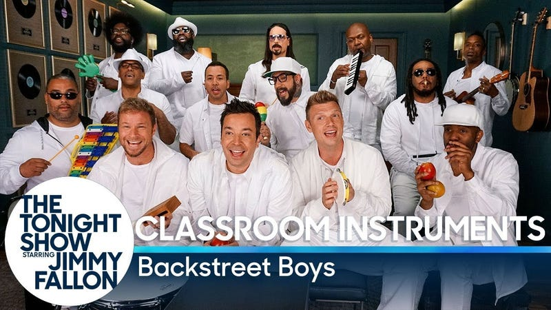 Illustration for article titled The 10 Most Awesome Parts of The Roots x Backstreet Boys x Jimmy Fallon's 'I Want It That Way' Classroom-Instruments Video