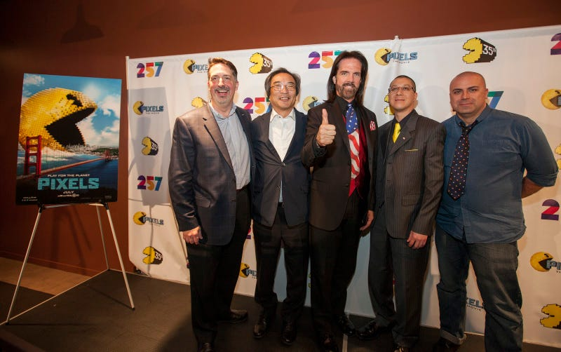 Billy Mitchell (center) and others present at the PAC-MAN'S Official 35th Birthday Celebration at LEVEL 257 on Friday, May 22, 2015 in Schaumburg, IL.