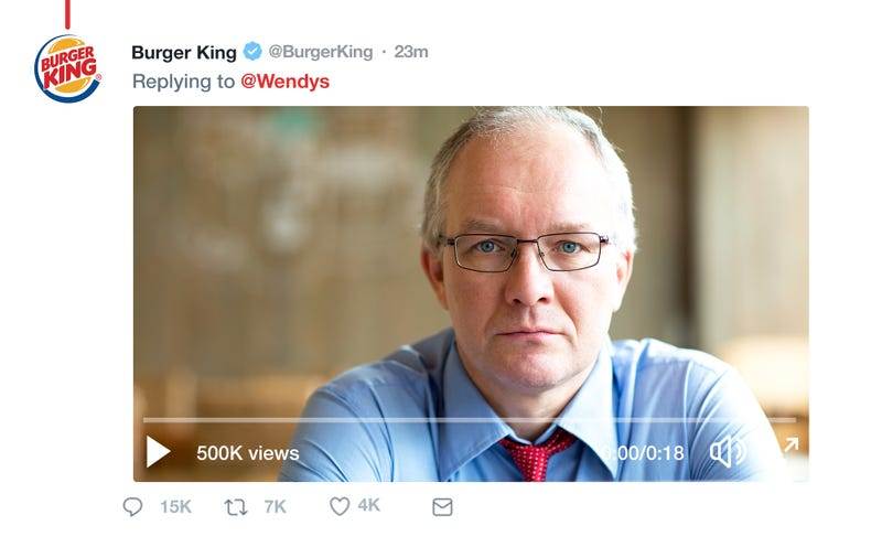 Illustration for article titled Epic Clapback: Wendy's Posted A Sassy Tweet About Burger King Freezing Its Beef, And The CEO Of Burger King Responded With A Video Of Him Killing Himself