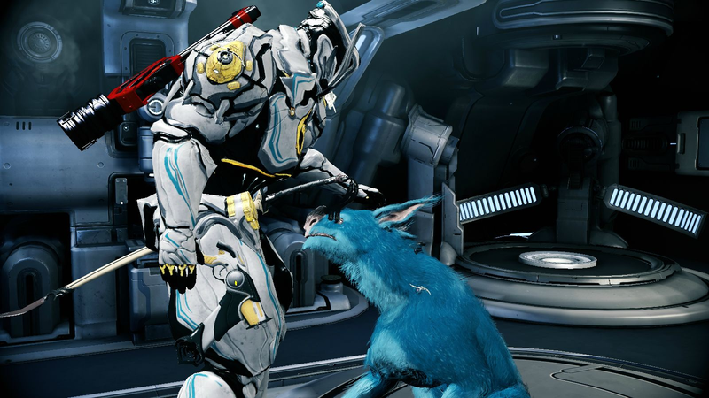 A Warframe player petting their lovely, blue Kubrow.