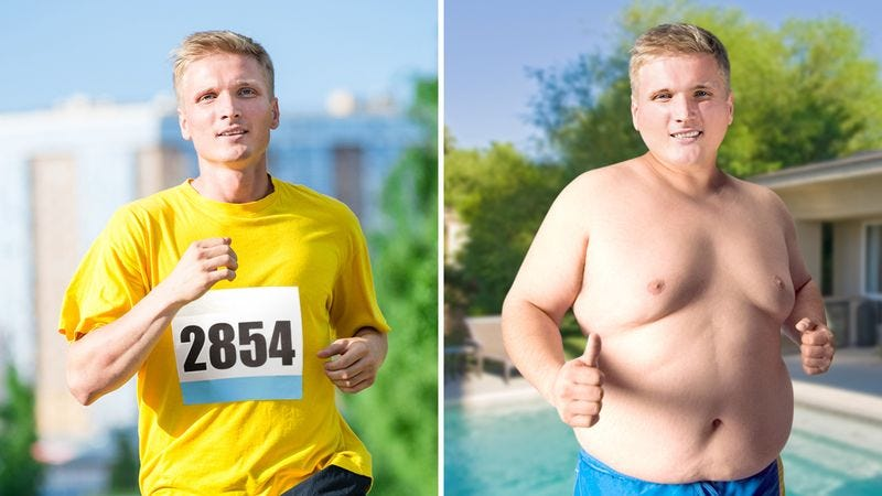 Illustration for article titled Inspiring: This Man Lost 150 Pounds To Run In The New York City Marathon And Then Gained It Back In Time For Cannonball Season