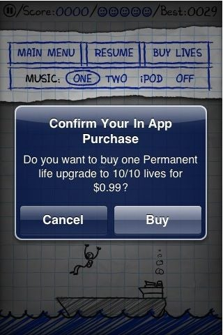 Illustration for article titled iPhone Game Sells Extra Lives Through In-App Store