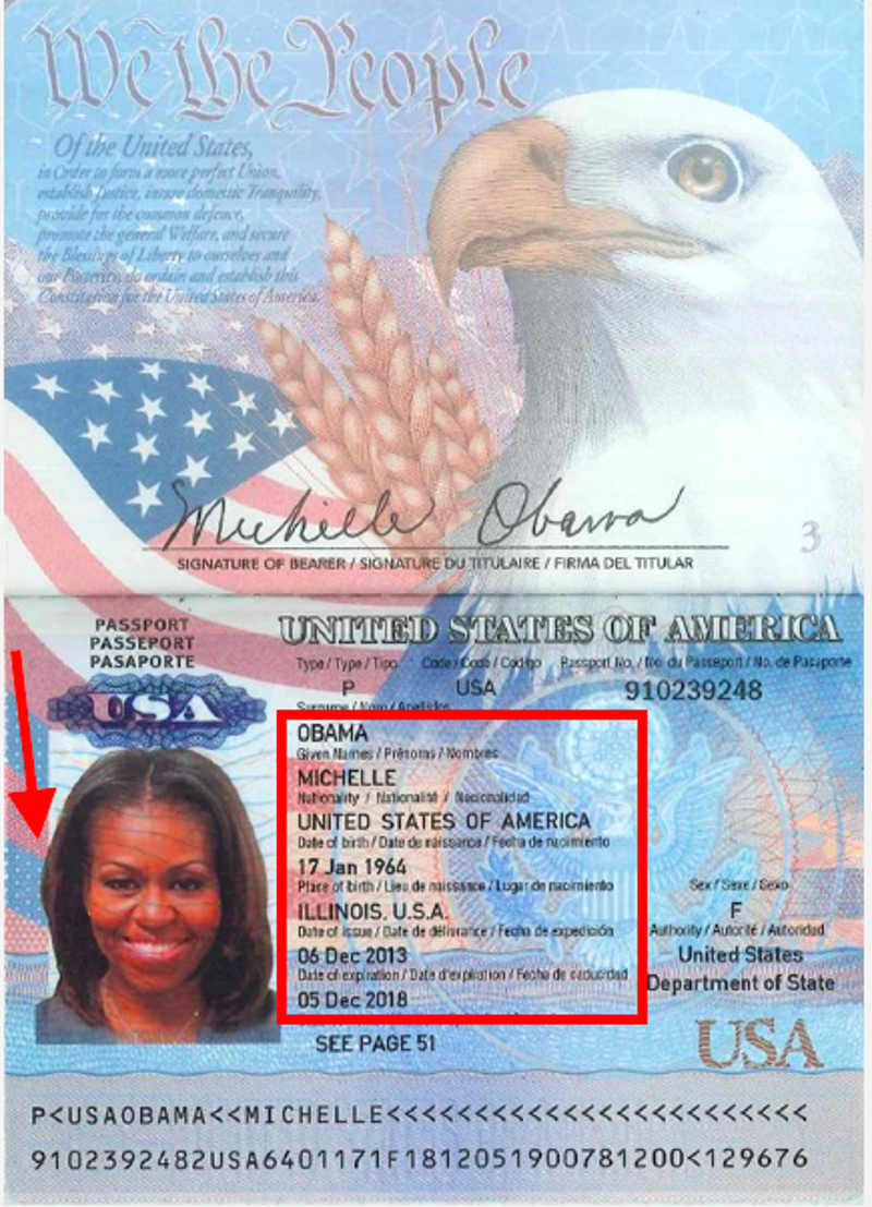 this allegedly leaked michelle obama passport looks fake as hell