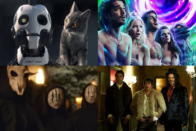 Clockwise from top left: Love Death + Robots, Now Apocalypse, What We Do In The Shadows & The Order.