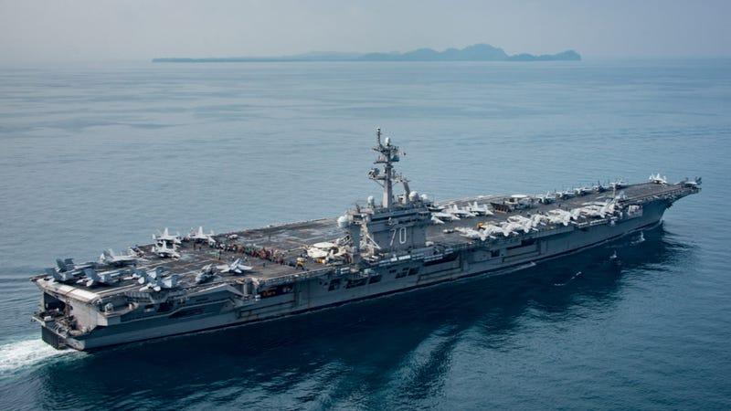 The USS Carl Vinson transits the Suda Strait on April 15, 2017. Photo credit: U.S. Navy