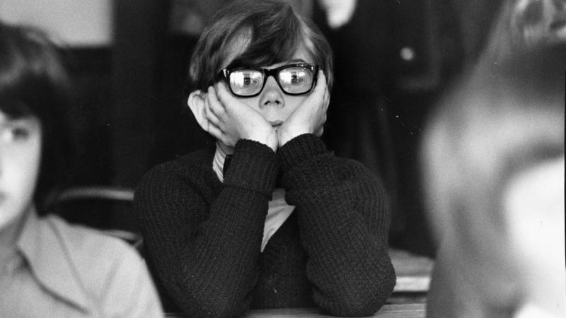 A bored student at school in London, 1978.