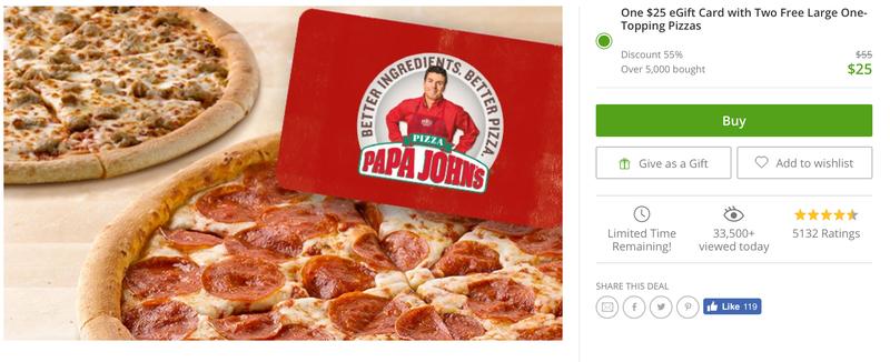 $25 Papa John's Gift Card + 2 Bonus Pizzas, $25