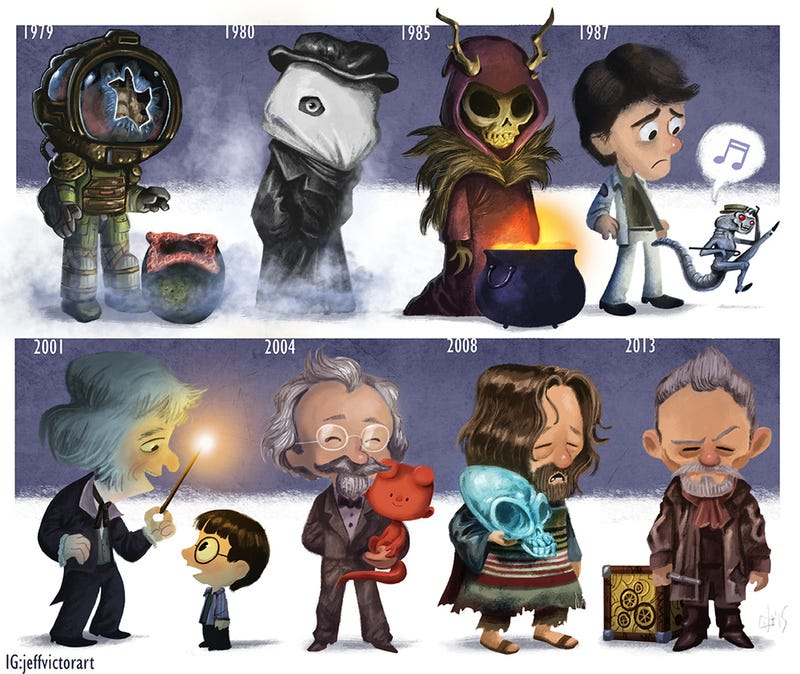 Illustration for article titled Adorable Drawing Charts John Hurt's Career From Alien to Doctor Who